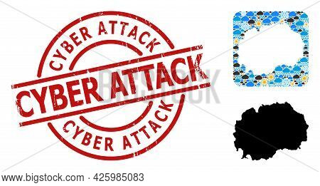 Weather Mosaic Map Of Macedonia, And Distress Red Round Cyber Attack Stamp. Geographic Vector Mosaic