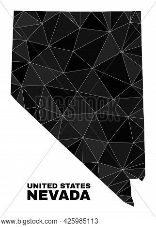 Low-poly Nevada State Map. Polygonal Nevada State Map Vector Filled From Chaotic Triangles. Triangul
