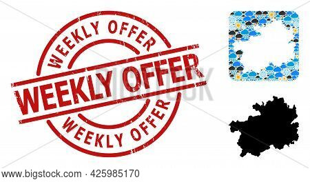 Climate Mosaic Map Of Guizhou Province, And Distress Red Round Weekly Offer Seal. Geographic Vector