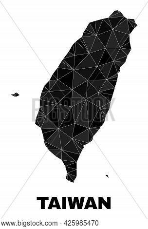Lowpoly Taiwan Map. Polygonal Taiwan Map Vector Combined Of Randomized Triangles. Triangulated Taiwa
