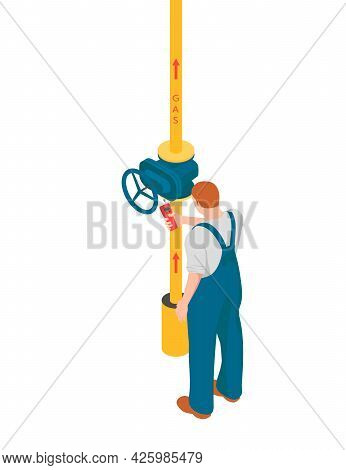 A Man Is Checking Gas Pipeline In Isometric. Redhead Man Is Using A Gas Analyzer To Find Leaks On A