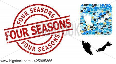 Climate Pattern Map Of Malaysia, And Distress Red Round Four Seasons Badge. Geographic Vector Concep