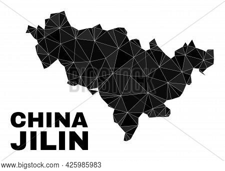 Low-poly Jilin Province Map. Polygonal Jilin Province Map Vector Is Constructed With Scattered Trian