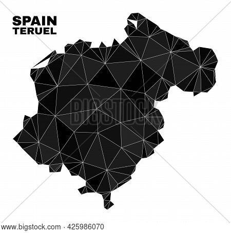Lowpoly Teruel Province Map. Polygonal Teruel Province Map Vector Is Combined With Chaotic Triangles