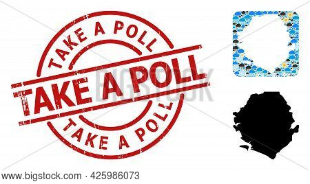 Weather Mosaic Map Of Sierra Leone, And Grunge Red Round Take A Poll Stamp. Geographic Vector Mosaic