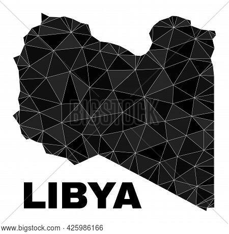 Lowpoly Libya Map. Polygonal Libya Map Vector Constructed With Randomized Triangles. Triangulated Li