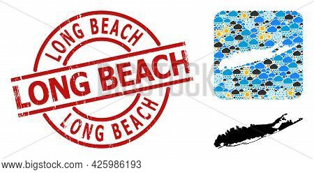 Climate Collage Map Of Long Island, And Rubber Red Round Long Beach Stamp Seal. Geographic Vector Co