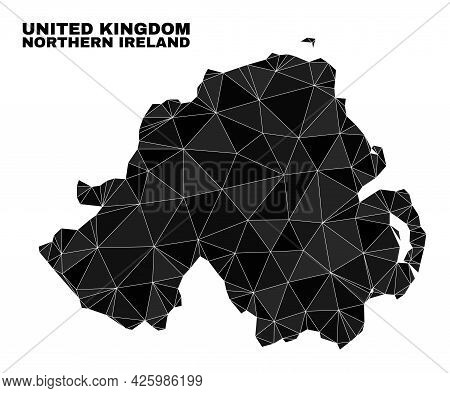 Lowpoly Northern Ireland Map. Polygonal Northern Ireland Map Vector Combined Of Random Triangles. Tr