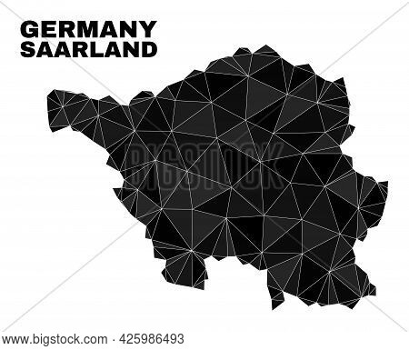 Lowpoly Saarland Land Map. Polygonal Saarland Land Map Vector Is Combined With Scattered Triangles.