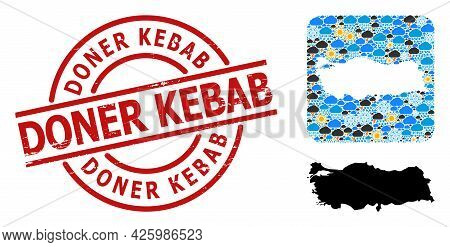 Weather Collage Map Of Turkey, And Distress Red Round Doner Kebab Stamp Seal. Geographic Vector Comp