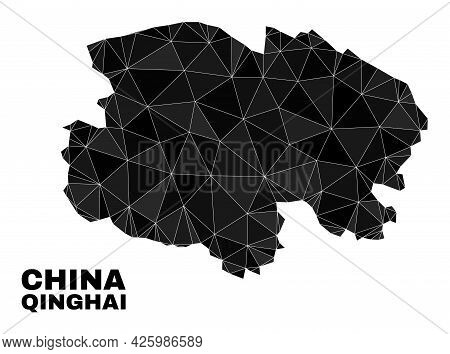 Low-poly Qinghai Province Map. Polygonal Qinghai Province Map Vector Is Filled Of Random Triangles.