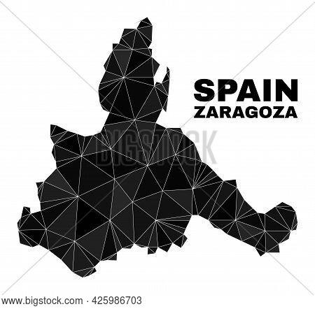 Low-poly Zaragoza Province Map. Polygonal Zaragoza Province Map Vector Constructed Of Randomized Tri