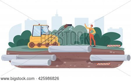 Vector Cartoon Flat Industrial Worker Characters At Pipeline Construction Work.engineer Workers Buil