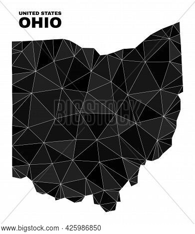 Low-poly Ohio State Map. Polygonal Ohio State Map Vector Is Filled With Randomized Triangles. Triang