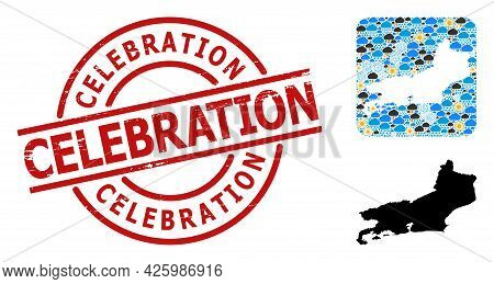 Climate Collage Map Of Piaui State, And Rubber Red Round Celebration Stamp Seal. Geographic Vector C