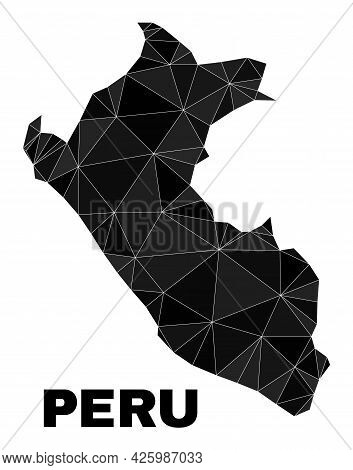 Low-poly Peru Map. Polygonal Peru Map Vector Is Filled With Randomized Triangles. Triangulated Peru