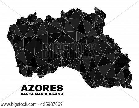 Lowpoly Santa Maria Island Map. Polygonal Santa Maria Island Map Vector Constructed Of Randomized Tr