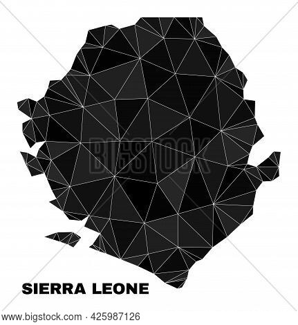 Low-poly Sierra Leone Map. Polygonal Sierra Leone Map Vector Combined From Chaotic Triangles. Triang