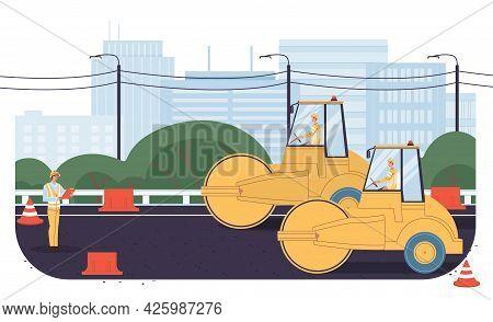Vector Cartoon Flat Industrial Worker Characters At Road Construction Work.engineer Workers Repair,