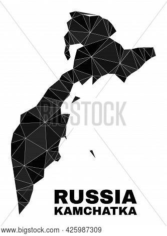 Low-poly Kamchatka Map. Polygonal Kamchatka Map Vector Filled Of Random Triangles. Triangulated Kamc