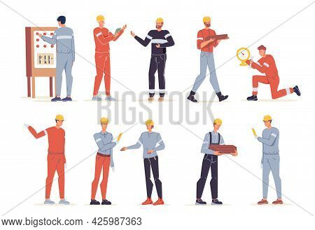 Vector Cartoon Flat Industrial Worker Characters At Gas, Petroleum Production Industry Set.engineer