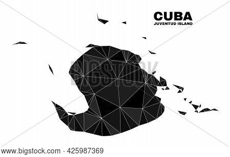 Low-poly Juventud Island Map. Polygonal Juventud Island Map Vector Is Combined From Random Triangles