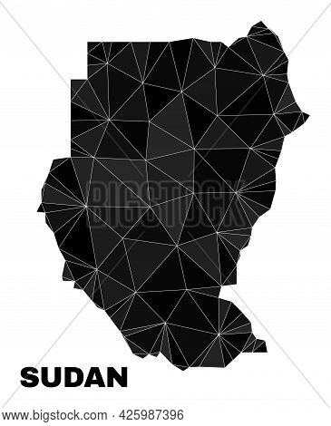 Low-poly Sudan Map. Polygonal Sudan Map Vector Is Filled Of Chaotic Triangles. Triangulated Sudan Ma