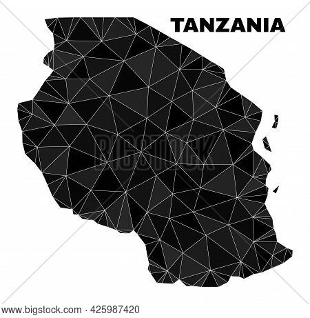 Low-poly Tanzania Map. Polygonal Tanzania Map Vector Is Constructed Of Randomized Triangles. Triangu