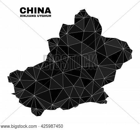 Low-poly Xinjiang Uyghur Region Map. Polygonal Xinjiang Uyghur Region Map Vector Combined With Chaot