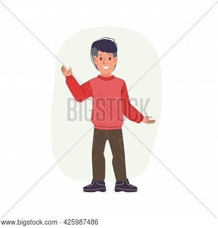 Vector Cartoon Flat Boy Character Kid Happy Greeting, Waving Hand- Childrens Fashion, Kids Clothing,