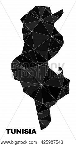 Low-poly Tunisia Map. Polygonal Tunisia Map Vector Combined With Chaotic Triangles. Triangulated Tun