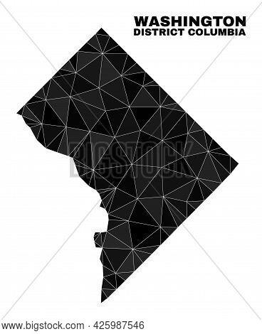 Lowpoly Washington District Columbia Map. Polygonal Washington District Columbia Map Vector Combined