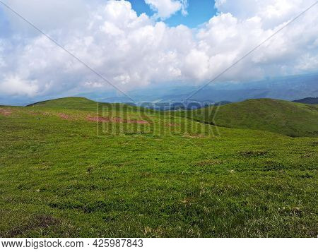 Summer Landscape In The Mountains. Beautiful Day For Hiking