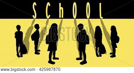 Poster Or Banner Concept Of Schoolchildren Silhouetttes With Shadows, Pupils With Backpacks, Backgro