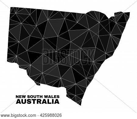 Lowpoly New South Wales Map. Polygonal New South Wales Map Vector Is Combined Of Random Triangles. T