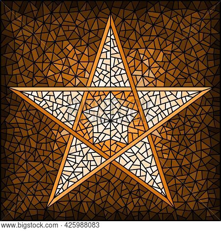 Illustration In Stained Glass Style With Abstract  Five-pointed Star, Monochrome,tone  Brown,square