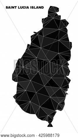 Low-poly Saint Lucia Island Map. Polygonal Saint Lucia Island Map Vector Is Constructed With Chaotic