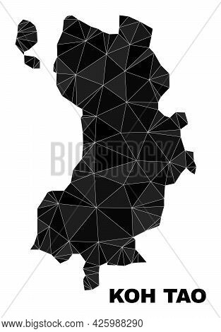 Lowpoly Koh Tao Map. Polygonal Koh Tao Map Vector Is Filled With Chaotic Triangles. Triangulated Koh