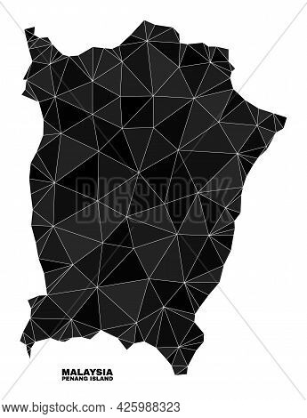 Low-poly Penang Island Map. Polygonal Penang Island Map Vector Is Constructed With Chaotic Triangles