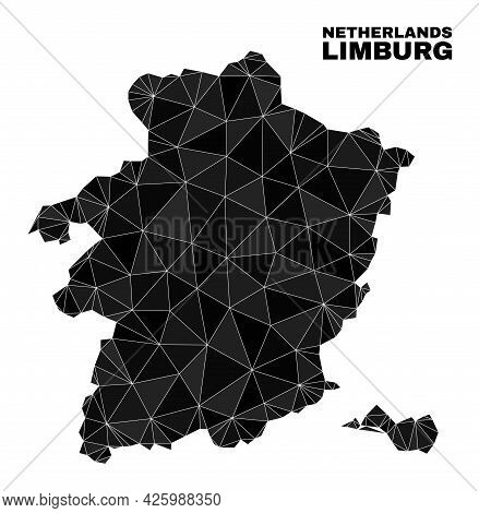 Low-poly Limburg Province Map. Polygonal Limburg Province Map Vector Is Combined With Scattered Tria