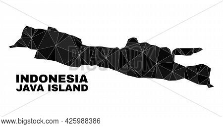 Low-poly Java Island Map. Polygonal Java Island Map Vector Is Constructed From Scattered Triangles.