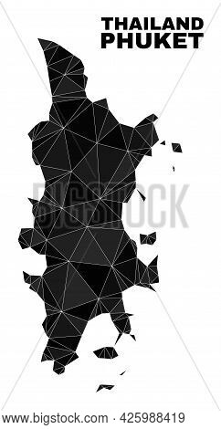 Lowpoly Phuket Map. Polygonal Phuket Map Vector Is Designed From Chaotic Triangles. Triangulated Phu
