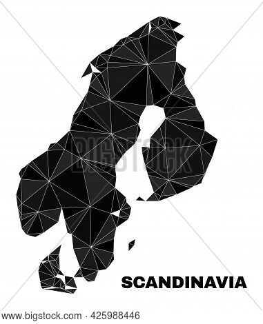 Low-poly Scandinavia Map. Polygonal Scandinavia Map Vector Filled From Scattered Triangles. Triangul