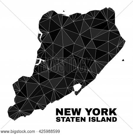 Low-poly Staten Island Map. Polygonal Staten Island Map Vector Is Combined With Random Triangles. Tr