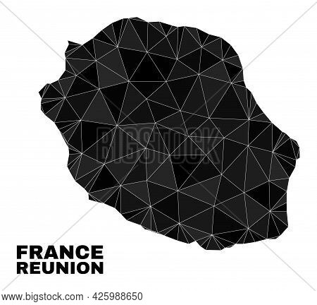 Lowpoly Reunion Island Map. Polygonal Reunion Island Map Vector Is Combined With Random Triangles. T
