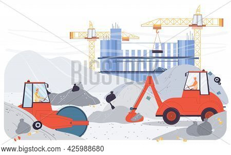 Vector Cartoon Flat Industrial Worker Characters At Garbage Removal Work.sanitation Workers Drive Tr
