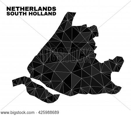 Low-poly South Holland Map. Polygonal South Holland Map Vector Designed Of Chaotic Triangles. Triang