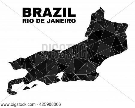 Low-poly Rio De Janeiro State Map. Polygonal Rio De Janeiro State Map Vector Filled Of Scattered Tri