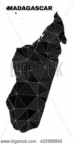 Lowpoly Madagascar Island Map. Polygonal Madagascar Island Map Vector Filled From Scattered Triangle