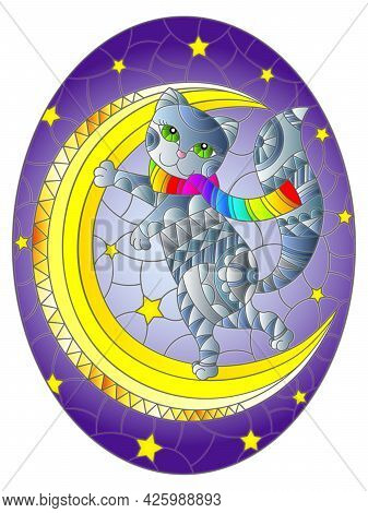 Illustration In The Style Of Stained Glass With A Grey Cat On The Moon Against The Background Of The